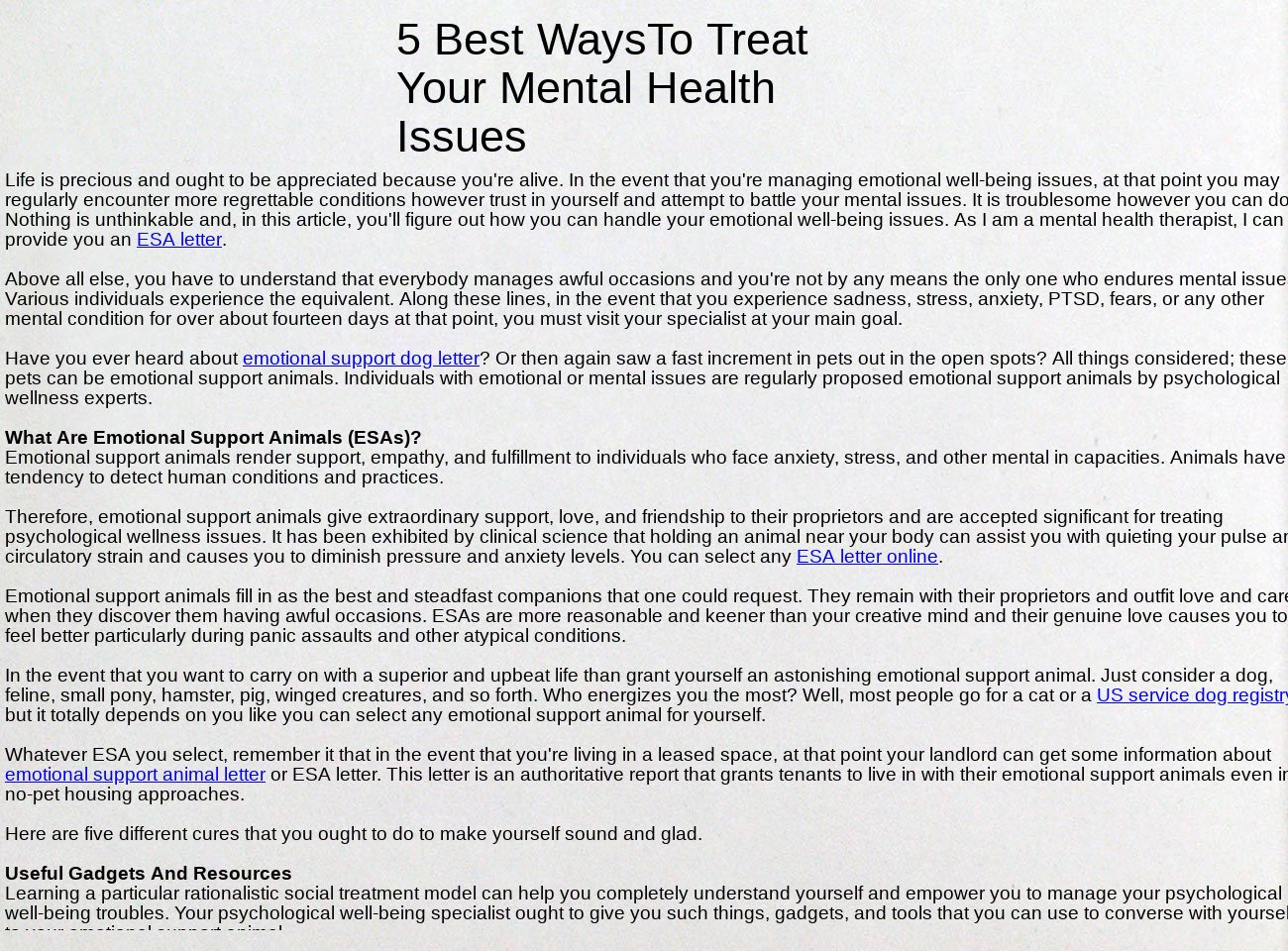 5 Best Ways To Treat Your Mental Health Issues