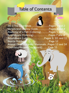 Vertebrates Table of Contents