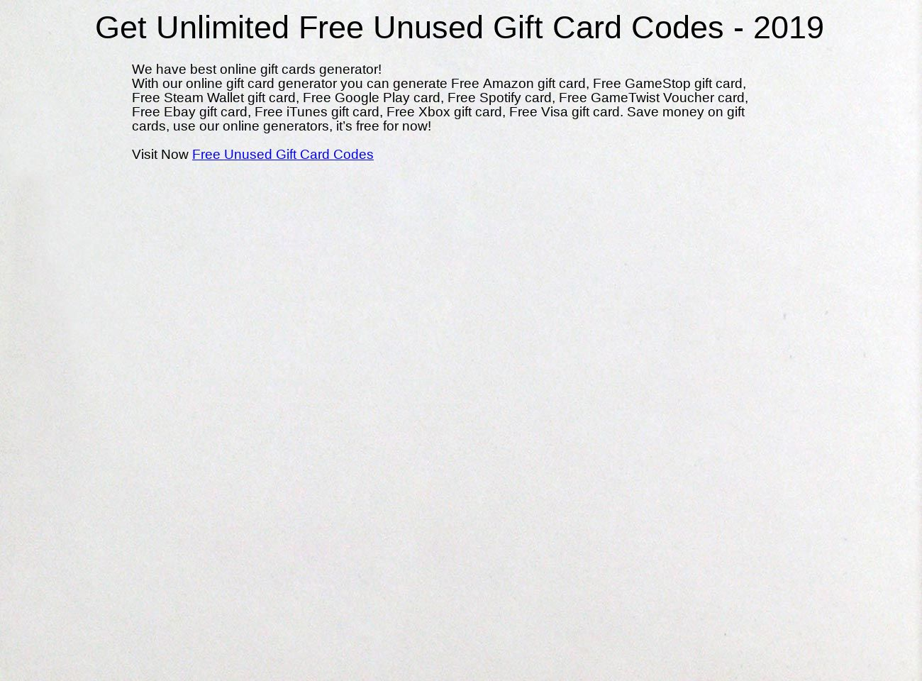 Unusedcodegenerator - Free Gift Card Codes: text, images, music