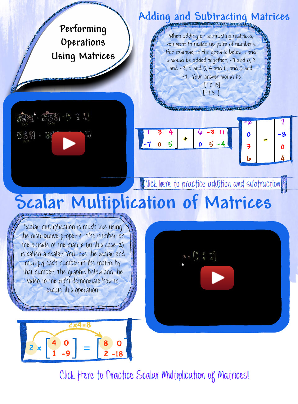 Performing Operations Using Matrices