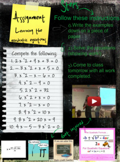 Learning quadric formula, (Assignments), Algebra