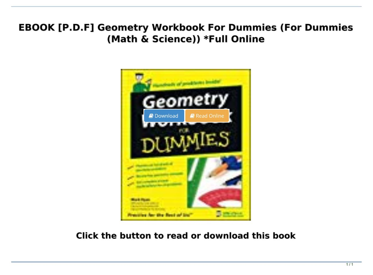 [P.D.F Download] Geometry Workbook For Dummies (For Dummies (Math & Science)) *Full Online